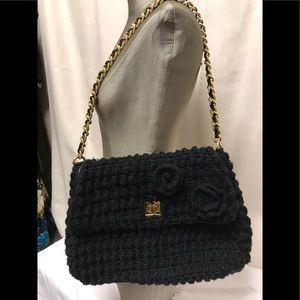 Murval black knit bag with chain